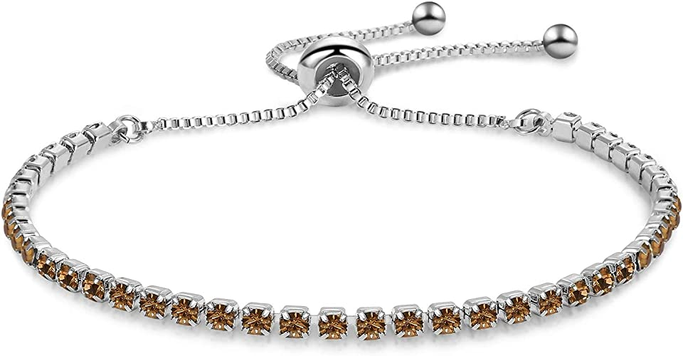 GULICX Silver Color Cubic Zirconia Adjustable Bracelets