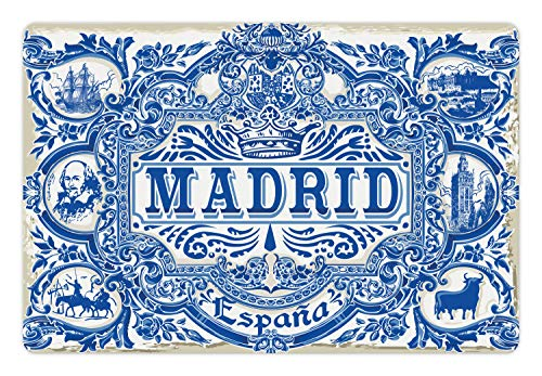 Ambesonne Spanish Pet Mat for Food and Water, Madrid Calligraphy Traditional Painted Tin Graphic Tile Azulejo Print, Rectangle Non-Slip Rubber Mat for Dogs and Cats, Navy Blue White Eggshell - Painted Traditional Bed
