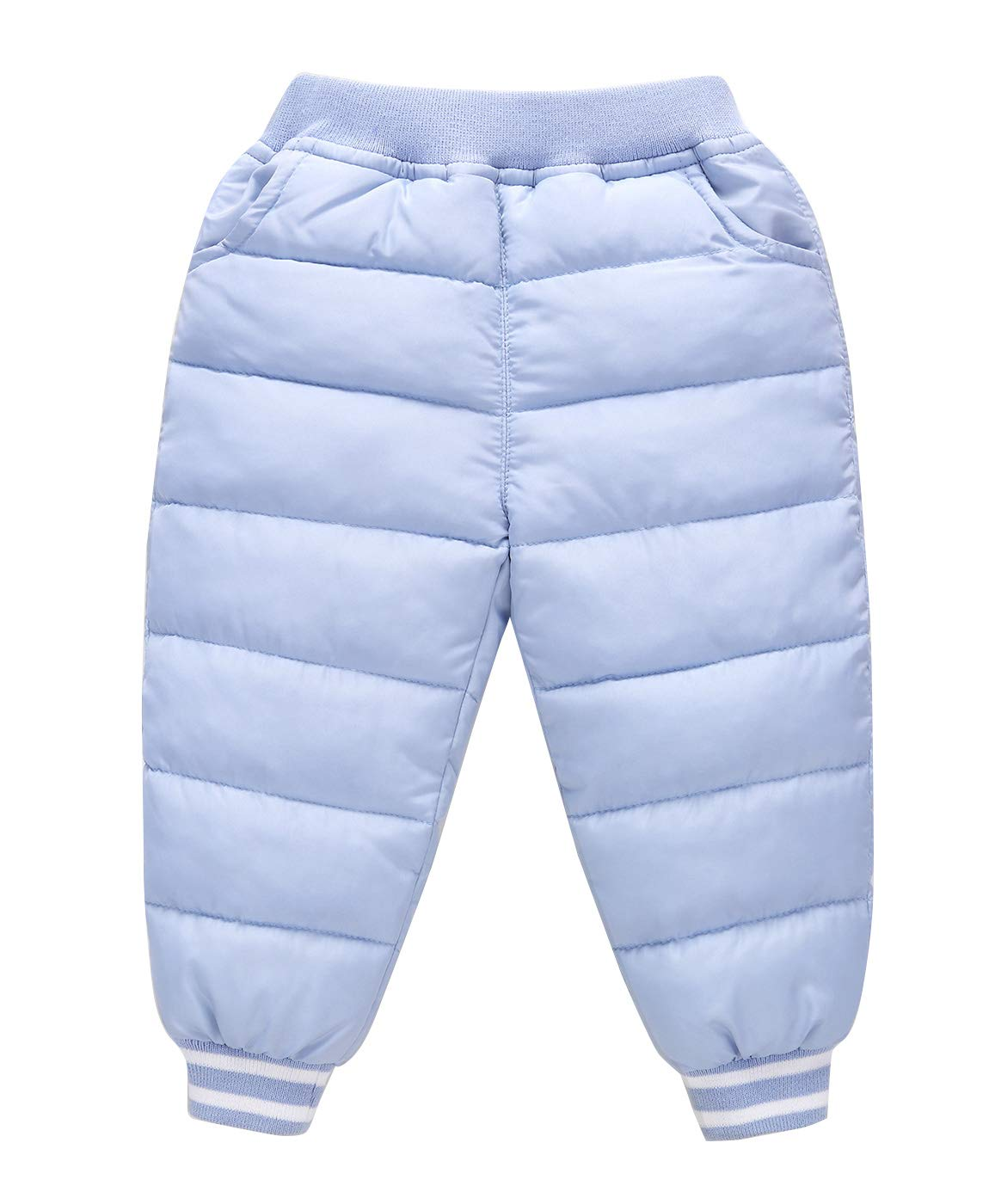 Unisex Kids Down Cotton Pants Elastic Winter Trousers Baby Boys Little Boys Thick Training Running Jogging Gym Pants Navy for 5-6T