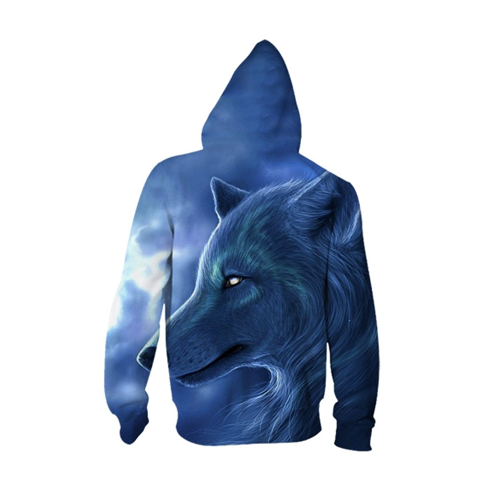 - JJCat JJCat JJCat Men's Hooded 3D Digital Print Sharp Wolf Pattern Zip-up Sports Outwear Cardigan Hoodies c4bd8d