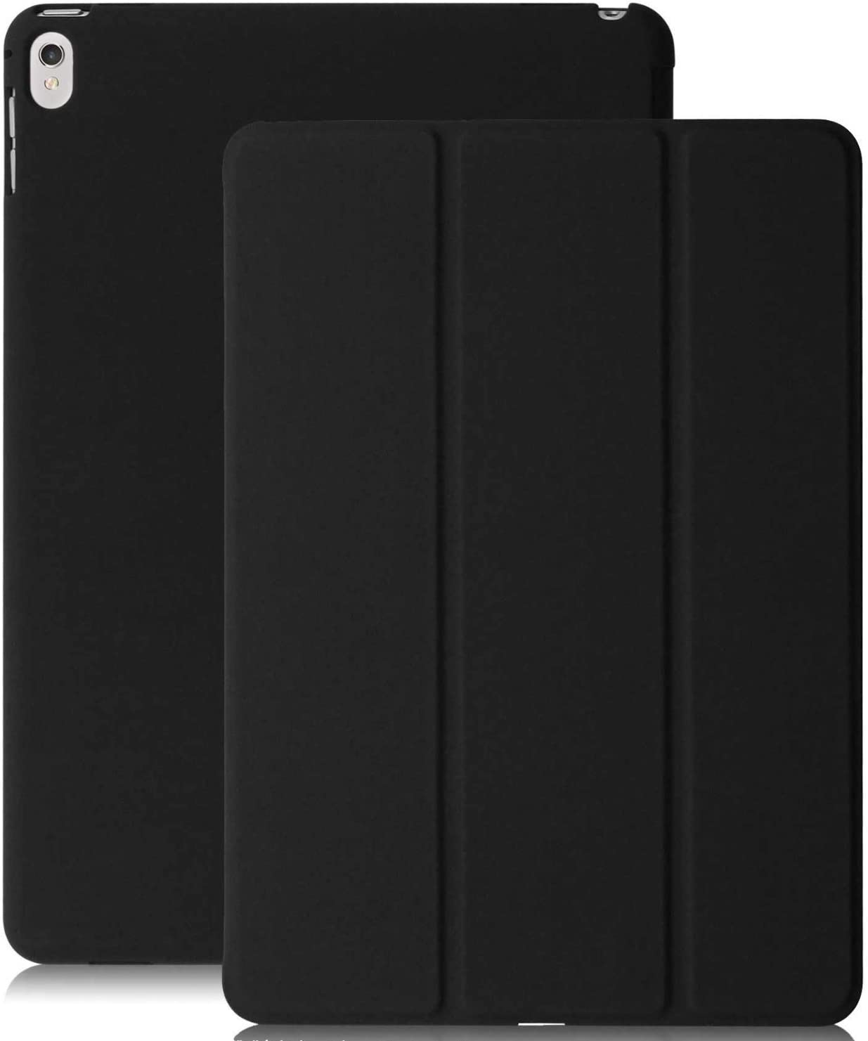 KHOMO iPad Pro 12.9 Inch Case 2017 2nd Gen. - Dual Black Super Slim Cover with Rubberized Back and Smart Feature
