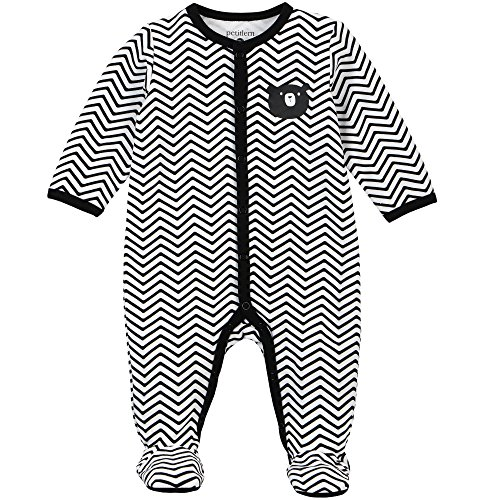 Petit Lem Baby Footed Sleeper, Zig Zag, NB