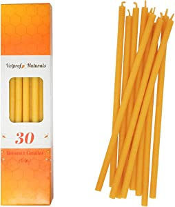 30 Votprof All Natural Décor 100% Pure Beeswax Taper Candles – Tall (8 in), Unscented, Dripless, Smokeless, Slow Burning, Non Toxic, Honey Scent - for Home, Dinner, Prayer, Church, Hanukkah, Christmas
