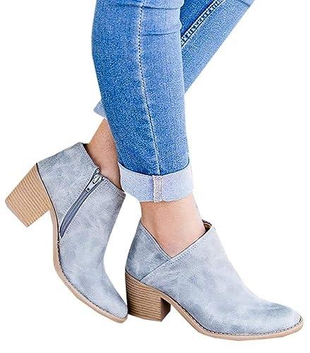 47772cee6cb2 Hafiot Chelsea Boots Stiefeletten Damen Kurzschaft Leder mit Absatz Kurze  Reissverschluss Bequem Stiefel Winter 5cm Schuhe