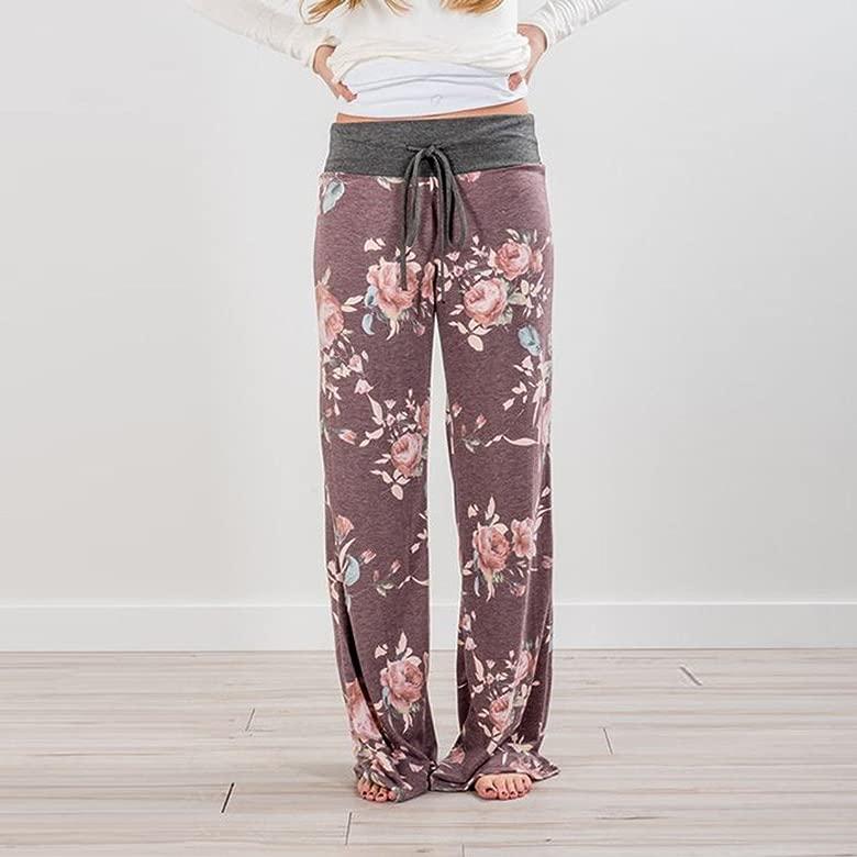Mujer Pantalones Anchos de Pierna Pantalón Floral Impreso Suave Yoga Fitness Deportes Tallas Grandes S-3XL