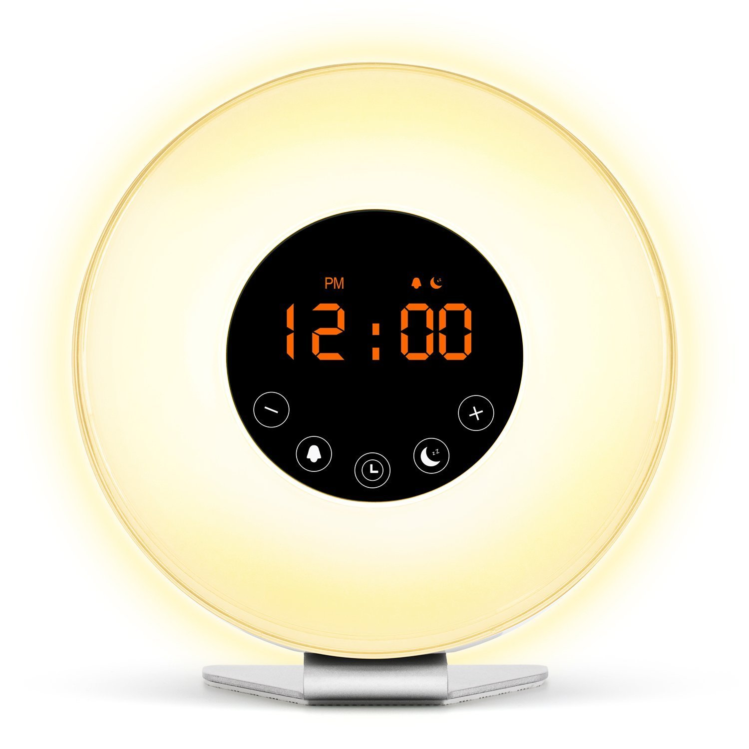 Wake Up Light Update Version Wake-Up Light Colored Sunrise Alarm Clock with Smart Snooze Function, Nature Sounds, FM Radio - Touch Control with USB Charger
