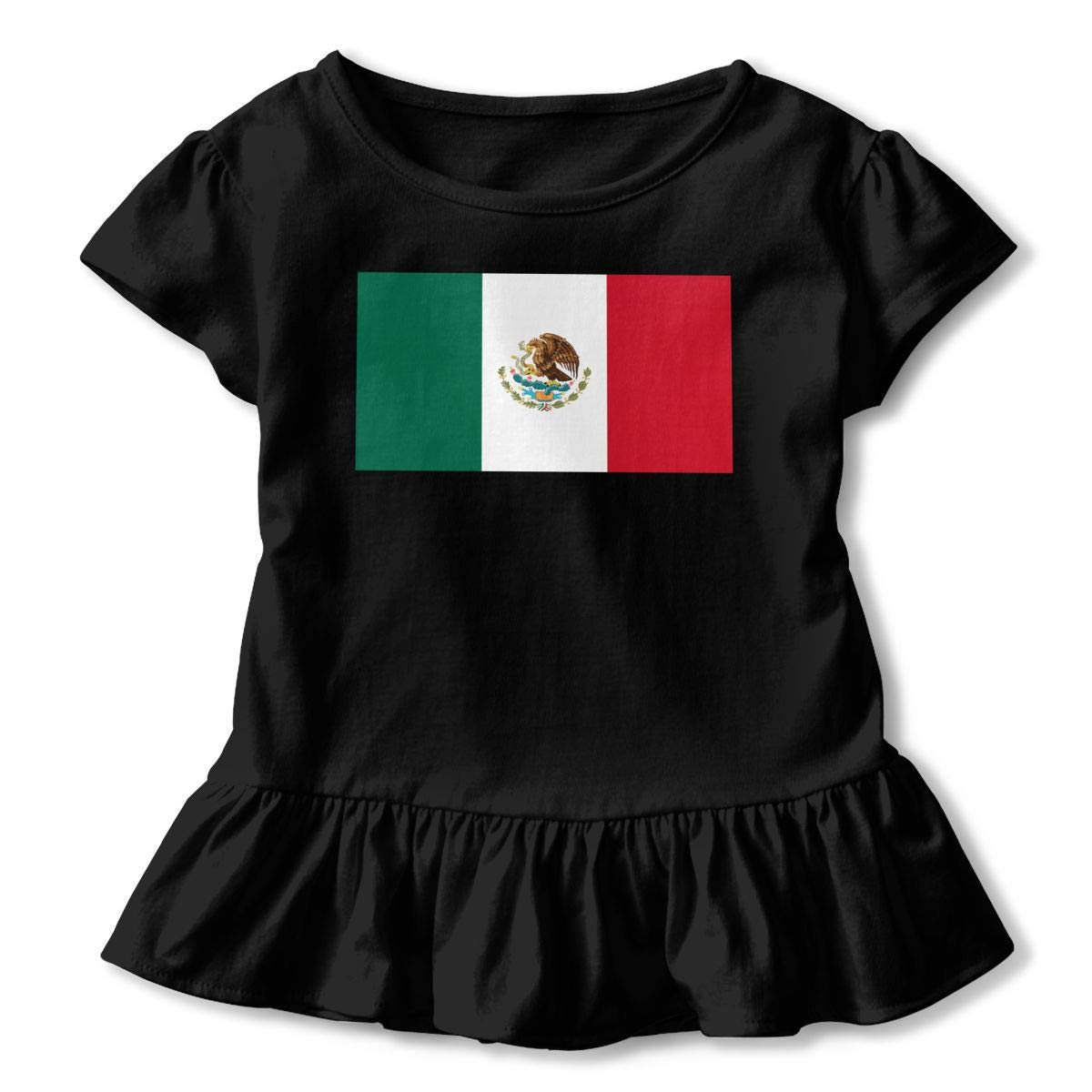 Flag of Mexico Baby Girls Short Sleeve Ruffles T-Shirt Tops 2-Pack Cotton Tee
