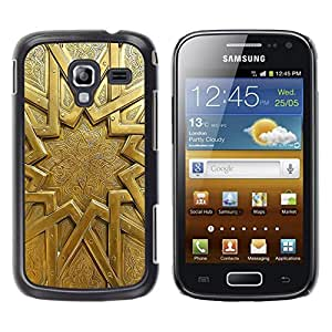 LECELL--Funda protectora / Cubierta / Piel For Samsung Galaxy Ace 2 I8160 Ace II X S7560M -- Gold Sun Pattern Ancient Metal Door --