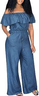 Transser Women's Off Shoulder Short Sleeve Ruffled Jean Pantsuit Casual Drawstring Elastic Waist Wide Leg Long Jumpsuit Rompers with Pockets