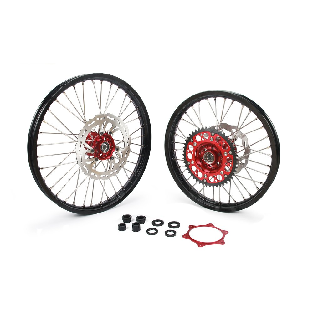 1.6x21'' 2.15x19'' Wheels Rims & Hubs & Spokes & Front Rear Brake Disc & Sprocket & Spacer Raiser - Honda CRF250R 15-17 CRF450R 15-17