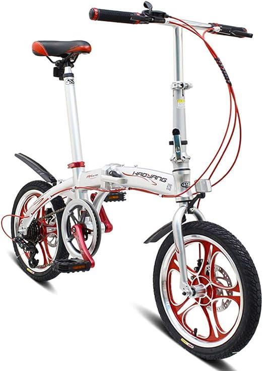 RPOLY Bicicleta Plegable, 6 velocidades Bici Plegable Unisex ...