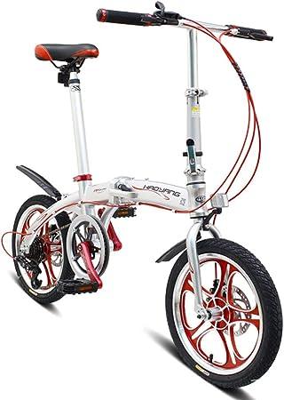 RPOLY Bicicleta Plegable, 6 velocidades Bici Plegable Unisex Plegable de la Ciudad para Bicicleta con el Marco Plegable de Aluminio,Silver_16 Inch: Amazon.es: Hogar