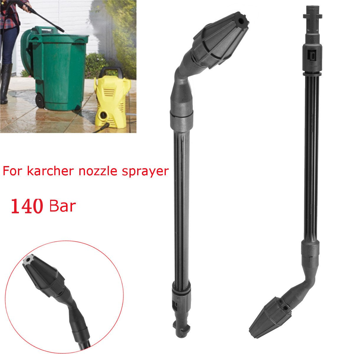 SAFETYON Blaster 140bar Lance Nozzle Rotating Power High Pressure Jet Lance Turbo Clean Nozzle for Karcher Washer