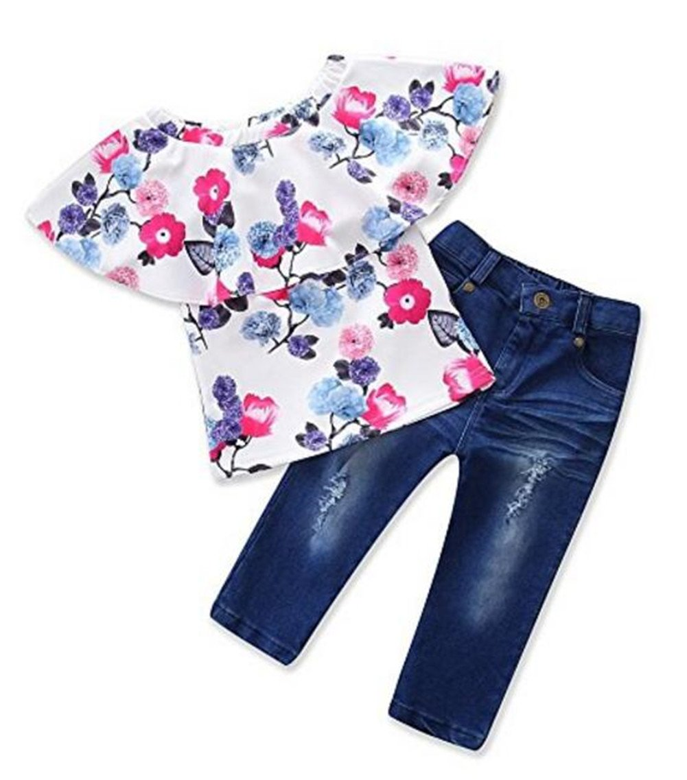 UNIQUEONE 2Pcs Toddler Girls Clothes Set Off Shoulder Floral Tops +Wash Retro Long Denim Pants Outfits Clothes Set Size 5-6Years/Tag120 (White)