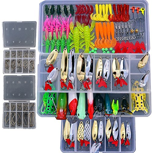 - Smartonly1 Set 226Pcs Fishing Lure Tackle Kit Bionic Bass Trout Salmon Pike Fishing Lure Frog Minnow Popper Pencil Crank Soft Hard Bait Fishing Lure Metal Spoon Jig Lure with Fishing Tackle Box