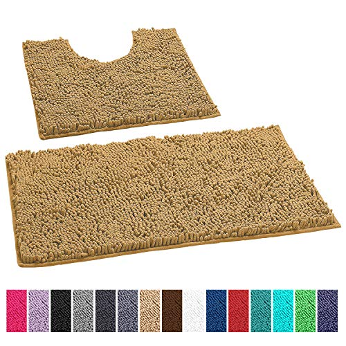 LuxUrux Bathroom Rugs Luxury Chenille 2-Piece Bath Mat Set, Soft Plush Anti-Slip Shower Rug +Toilet Mat.1'' Microfiber Shaggy Carpet, Super Absorbent Machine Washable Bath Mats (Curved Set, Beige)