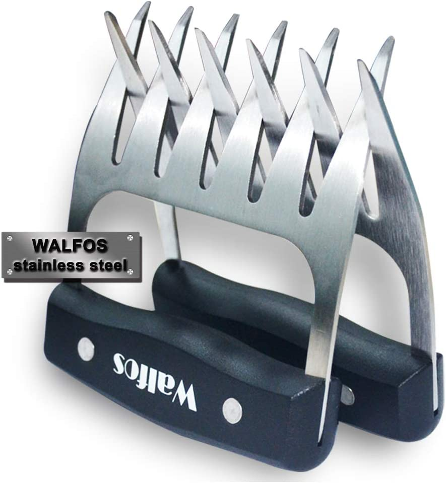 Walfos Stainless Steel Pulled Pork Shredder Claws - Essential for BBQ Pros - Strong Metal Pork Claw for Handling,Lift, Shredding, and Carving Meat - Ultra-Sharp Blades & Heat Resistant 61yS7WhWNqL