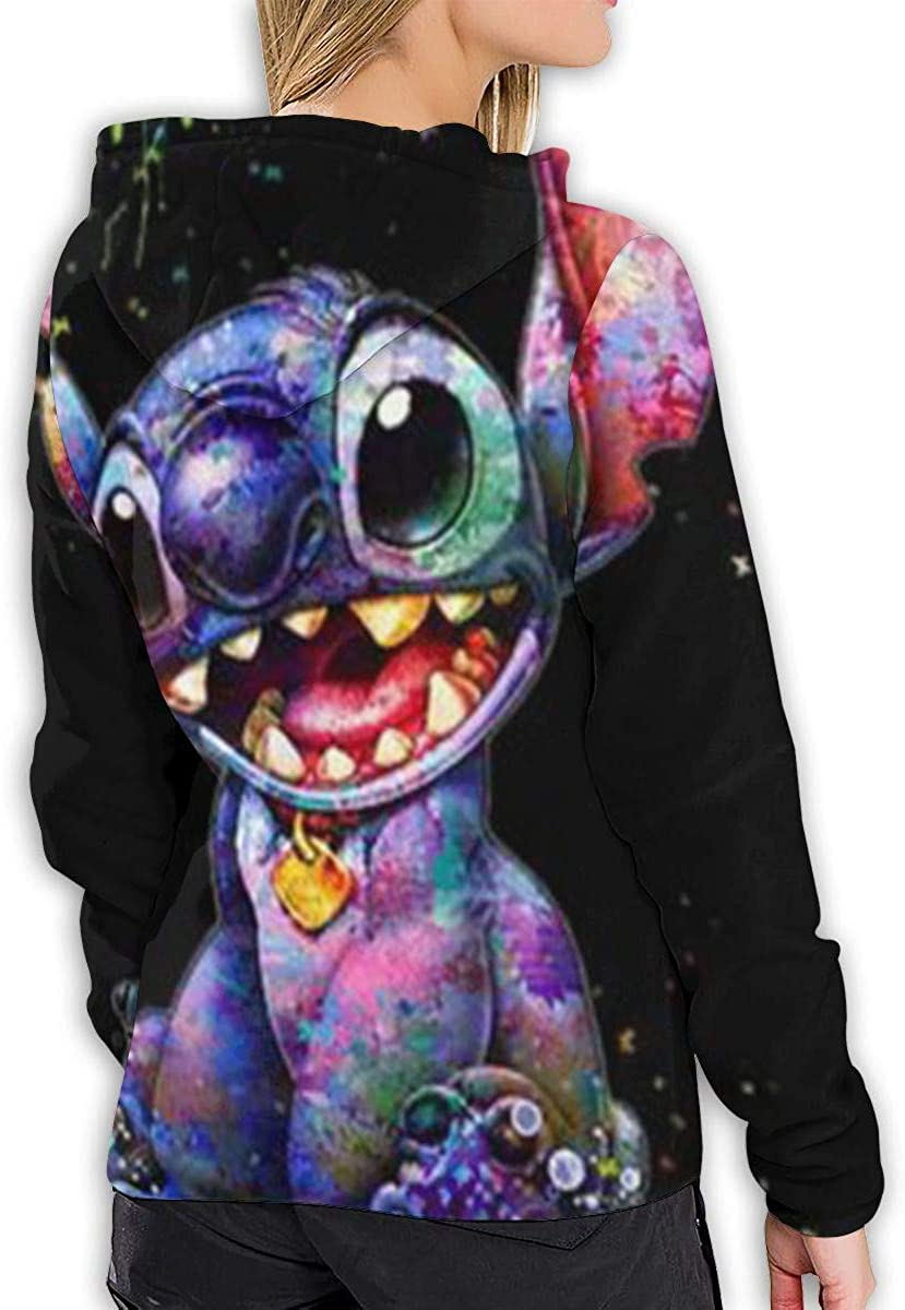 Stitch and Toothless Hoodie Long Sleeve Shirt//Casual Graphics//Ladies Top Black