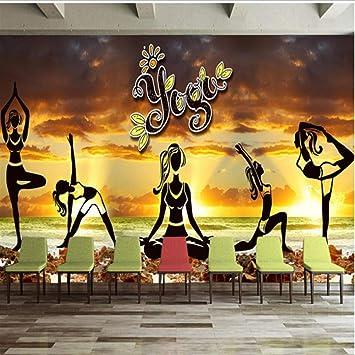 Amazon Com Dalxsh Elegant Aesthetic Yoga Culture Wall Fitness Club Wall Mural Wallpaper 120x100cm Kitchen Dining