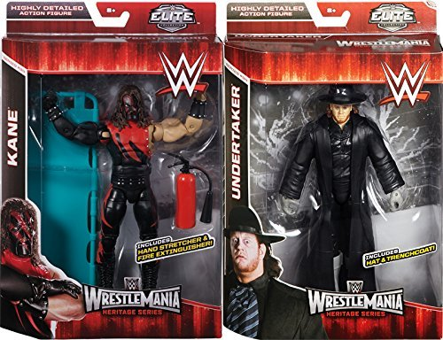 WWE ELITE WRESTLEMANIA 31 SET OF 2 (KANE & UNDERTAKER) - WWE WRESTLEMANIA 31 ELITE FLASHBACK MATTEL TOY WRESTLING ACTION FIGURES by Wrestling