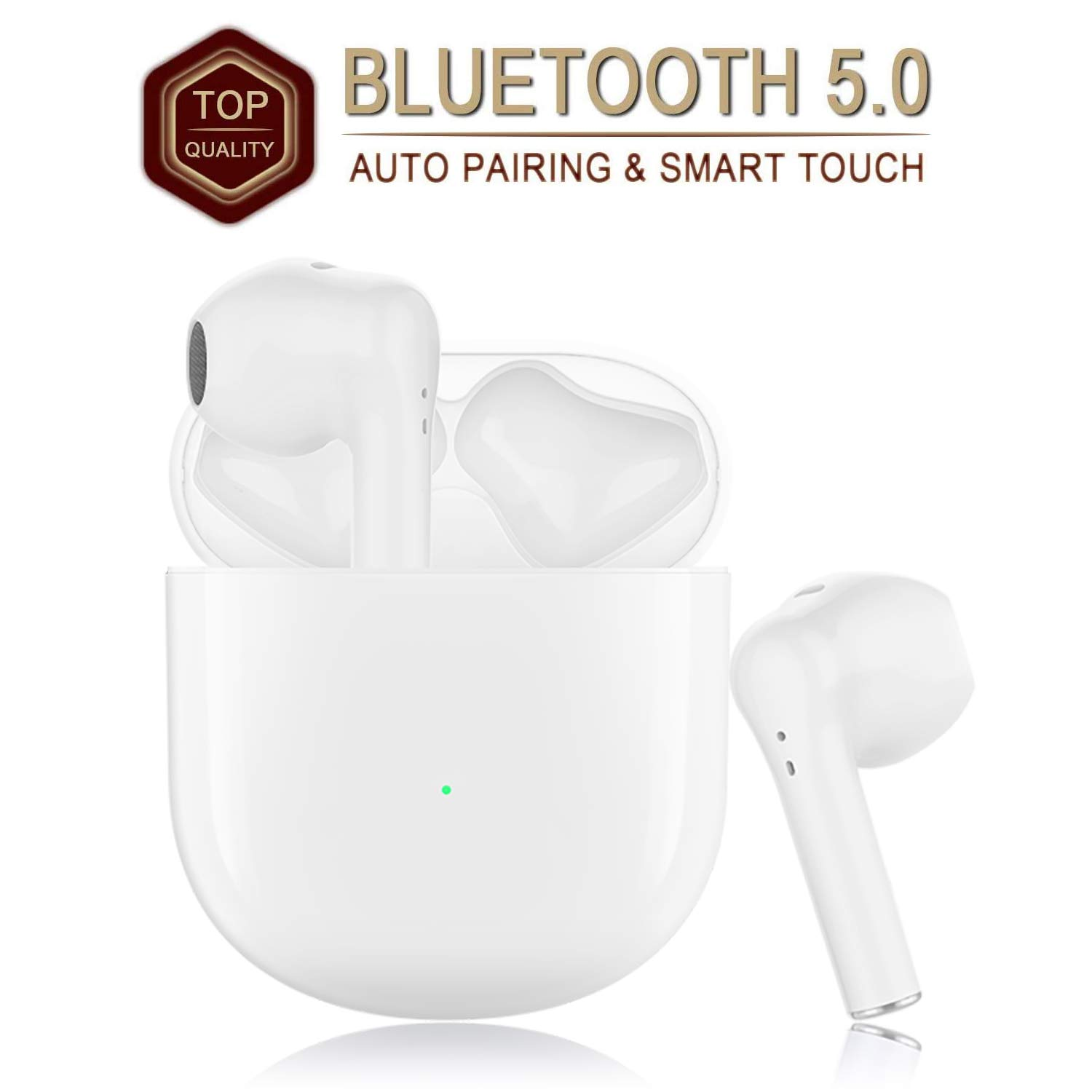 White Wireless Earbuds Bluetooth Earbuds Bluetooth Headphones【24Hrs Charging Case】 3D Stereo IPX7 Waterproof Pop-ups Auto Pairing Fast Charging for Earphone Samsung Apple Airpods Wireless Earbuds