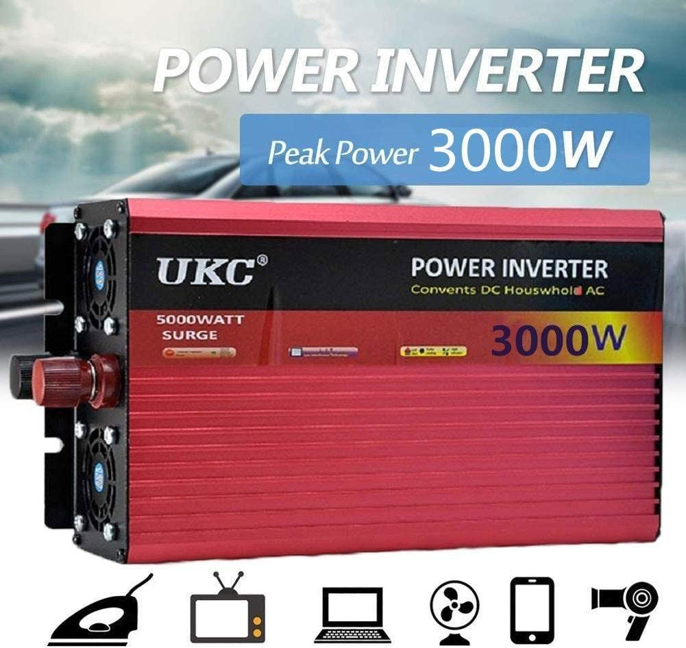 Inversores de Alta Potencia de 2500W//3000W//4000W para Veh/ículos RV Car Truck Convertidor de Voltaje Convertidor de Inversor Sinusoidal con Enchufes y Conexi/ón USB DC 12V//24V//48V//60V A Ac 220V