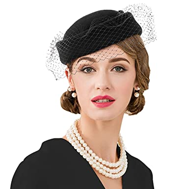 f559beda7d39c Vintage Fascinator Pillbox Hat with Veil Womens Wedding Tea Party Cocktail  Hats (Black)