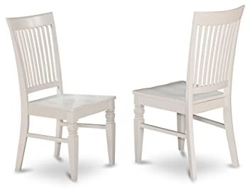 East West Furniture WEC WHI W Wood Seat Dining Chair Set With Slatted Back