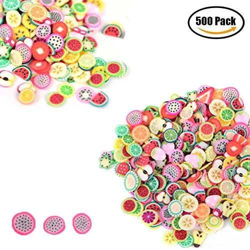 500Pcs 3D Nail Art Fimo Sticker Acrylic Nail Art Decoration tips kits, Fruit Manicure Decoration