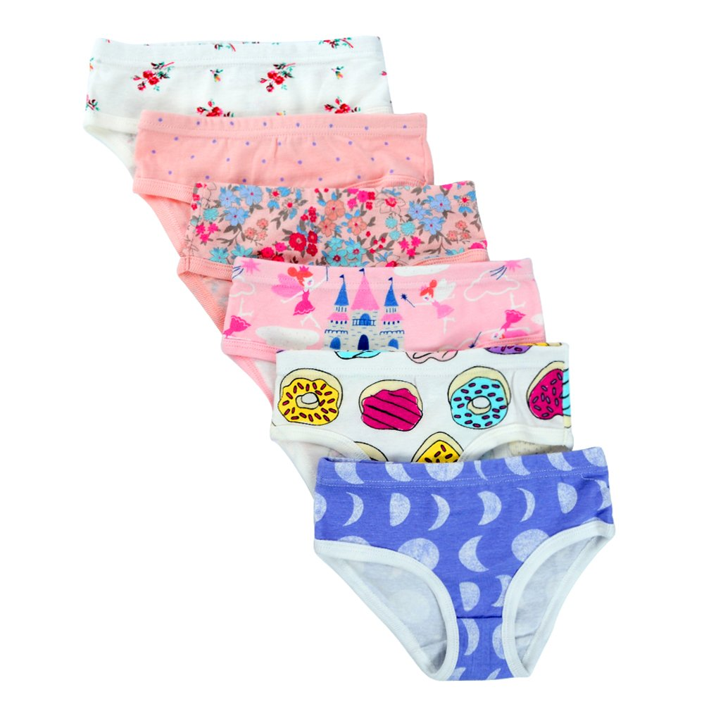 Closecret Kids Series Baby Soft Cotton Panties Little Girls' Assorted Briefs(Pack of 6) (3-4 Years, Style4)