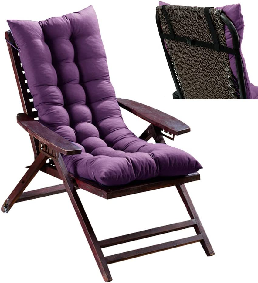 willstar Sun Lounger Cushion, Outdoor Bench Cushion, Garden Furniture Cushions Replacement Garden Patio Thick Chair Pad with Elastic Buckle for Travel Holiday Garden Indoor Outdoor 49×19×3 In (Purple)