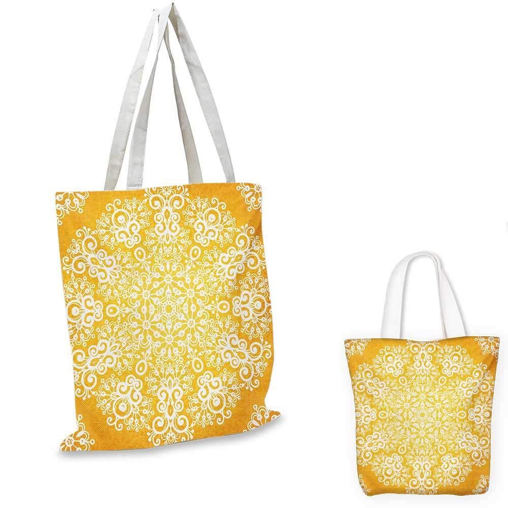 黄色の四つ葉のモロッコがテーマの古代幾何学模様 アートワーク 黄色いメリゴールドと白。 13