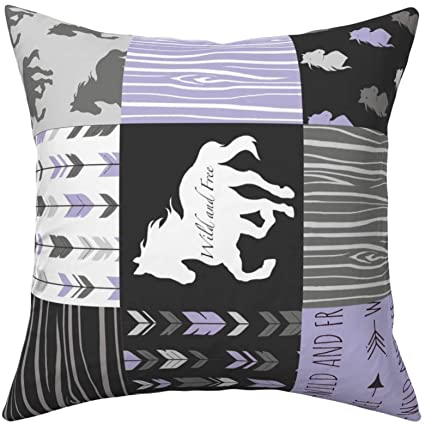 Roostery Throw Pillow Purple Lavender Horses Wild Horse Wild And Free Patchwork Print Linen Cotton Canvas Knife Edge Accent Pillow 18in X 18in With Insert Home Kitchen