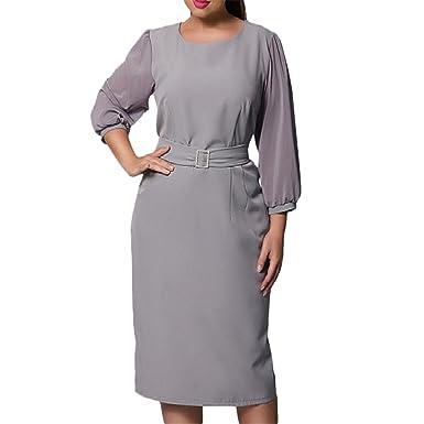 Welcometoo Summer Dress Plus Size Knee Length Elegant Dress ...