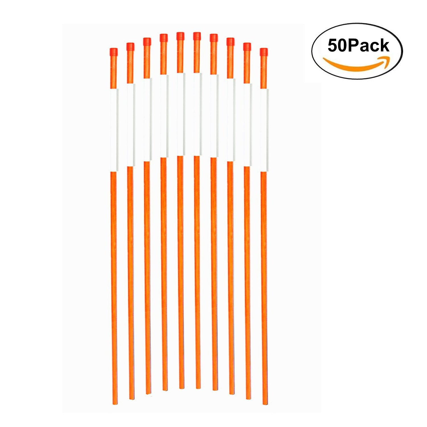 FiberMarker Hollow Reflective Driveway Markers 72-Inch 50-Pack Orange 5/16-Inch Dia Driveway Poles for Easy Visibility at Night by FiberMarker