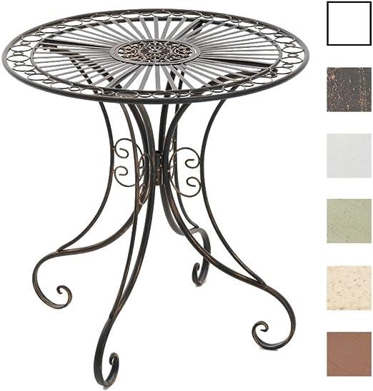 Mesa de Jardín Hari | Mesa Auxiliar de Exterior en Estilo Rústico | Mesa de Terraza Redonda Diámetro: 70 cm | Color:, Color:Bronce: Amazon.es: Jardín