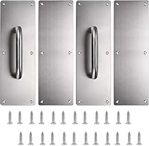 """Sumnacon 2 Set 12"""" Stainess Steel Door Handle Pull & Push Plate - Heavy Duty Gate Handle Bar for Home/Office/Warehouse/Public/Commercial Places, Suitable of Wooden/Composite Door with Screws, Brushed"""