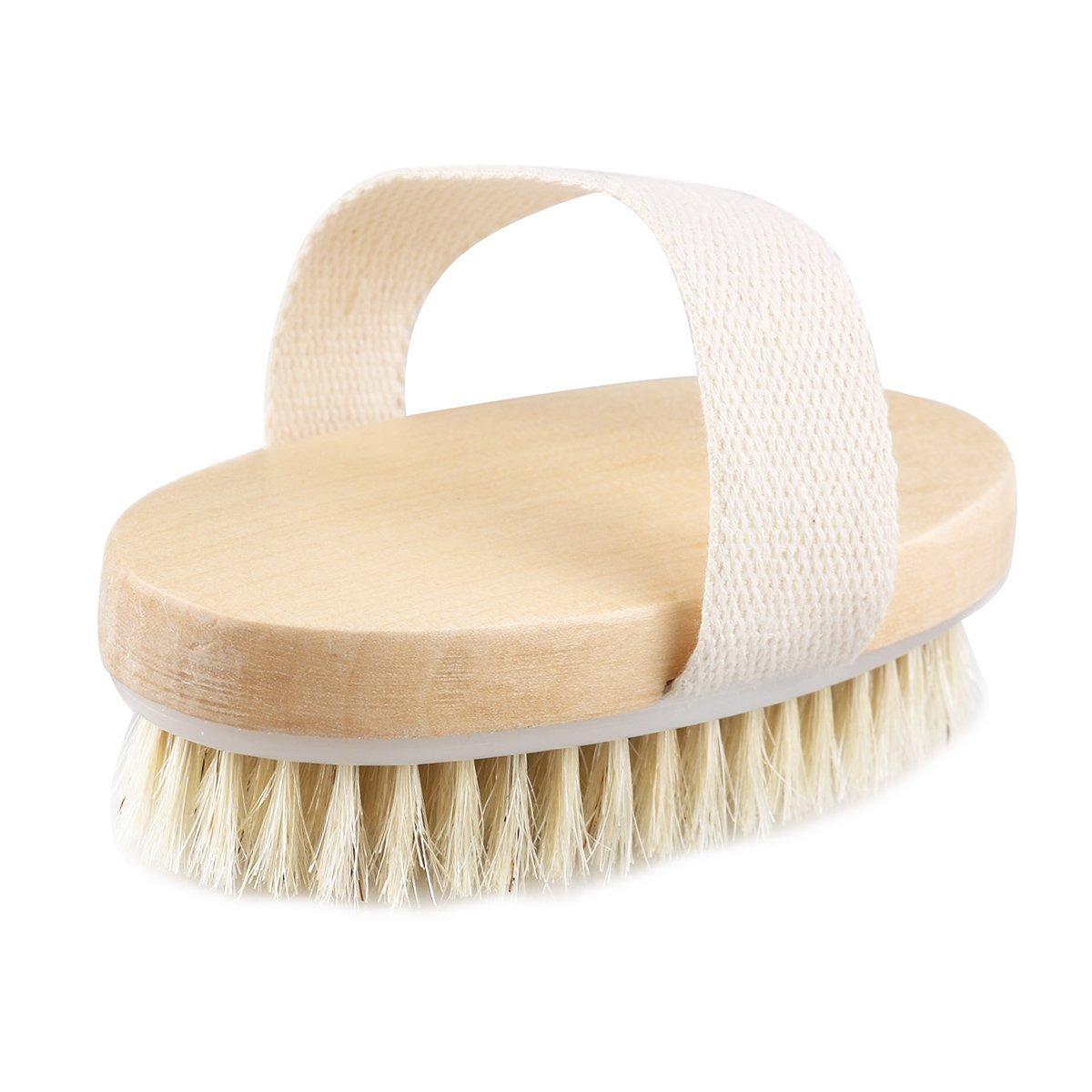 Pixnor Wooden Body Brush Massager Bath Shower Back Spa Scrubber