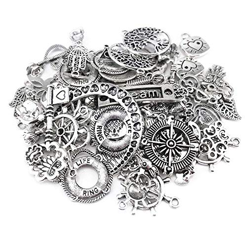 Yueton 100 Gram (Approx 80pcs) Assorted DIY Antique Charms Pendant for Crafting, Jewelry Making Accessory (Silver) from yueton