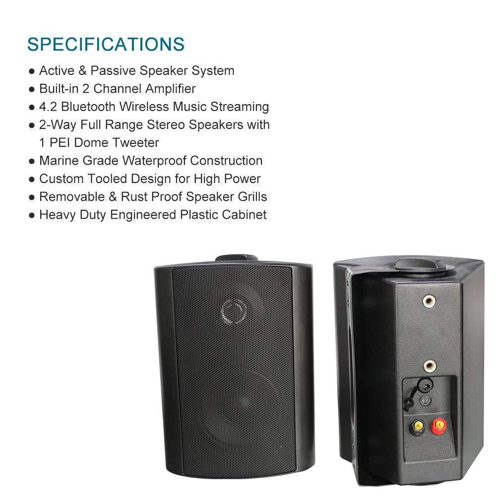 "Herdio 4/"" Outdoor Bluetooth Speakers Wireless Waterproof Patio Deck Wall Mount Speakers HOS-401B"