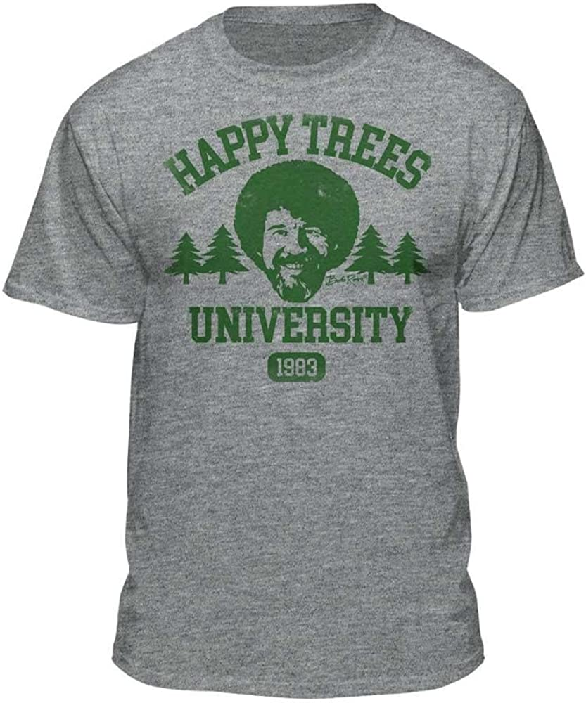 9e1e9811 Bob Ross Happy Trees University Official Licensed Athletic Fit T-Shirt  (Small, Athletic