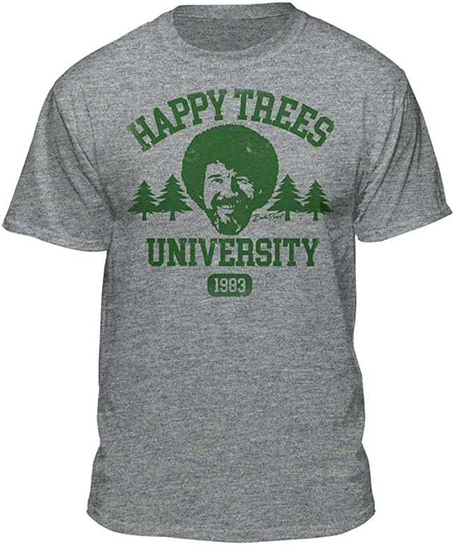 acd53aa294a Bob Ross Happy Trees University Official Licensed Graphic T-Shirt