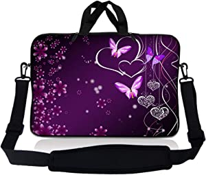 LSS 15.6 inch Laptop Sleeve Bag Compatible with Acer, Asus, Dell, HP, Sony, MacBook and more | Carrying Case Pouch w/ Handle & Adjustable Shoulder Strap, Purple Heart Butterfly