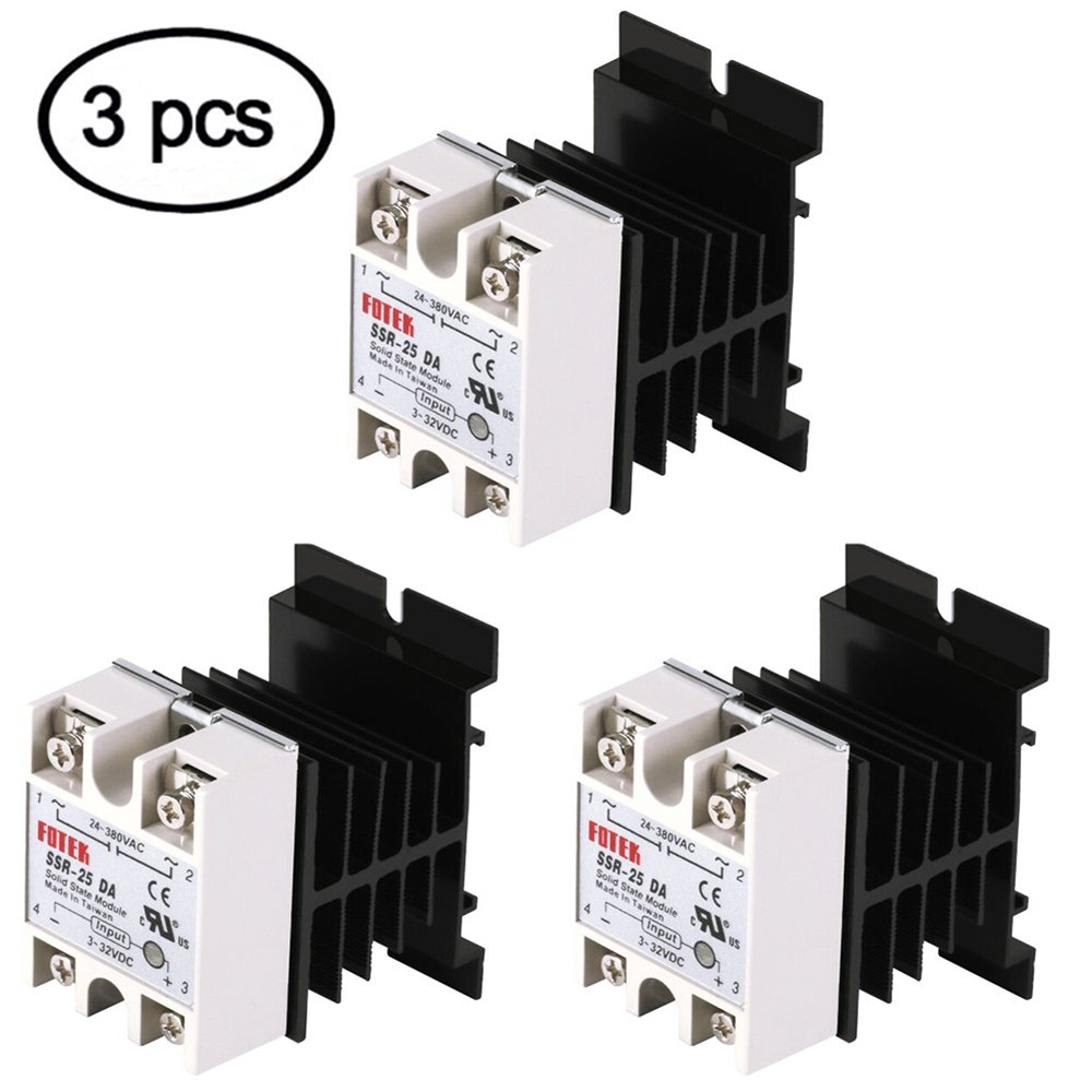 Solid State Relay, 3PCS SSR-25DA Solid State Relay + 3PCS Heat Sink Input 3-32V DC Output 24-380V AC