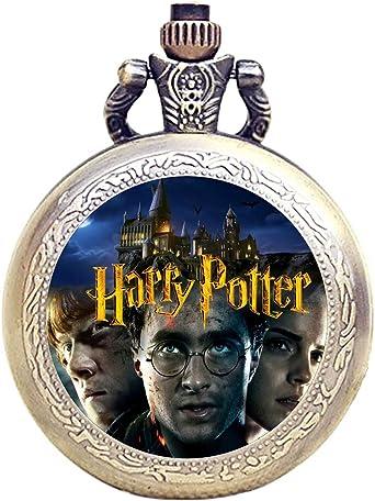 Todo para el streamer: Reloj de bolsillo de cuarzo con grabado antiguo de bronce Harry Potter + batería de repuesto + bolsa de regalo gratis