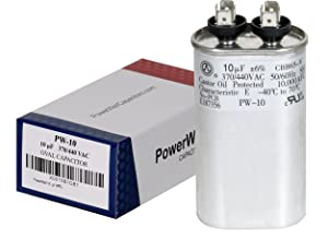 PowerWell 10 uf MFD 370 or 440 VAC Oval Run Capacitor PW-10 for Fan Motor Blower Condenser in Air Handler Straight Cool or Heat Pump Air Conditioner - Guaranteed to Last 5 Years