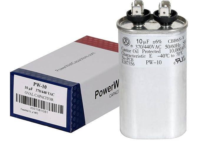 PowerWell 10 uf MFD 370 o 440 VAC Condensador de funcionamiento ...