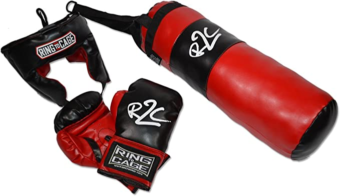 ONEX New//Junior Boxing Gift Punching Bag Set Kids Punch Bag Gloves,Bracket//Rope