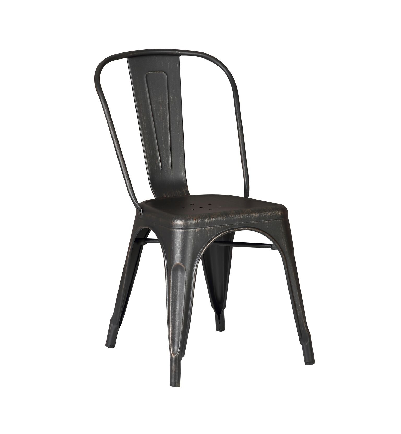 AC Pacific Cole Collection Modern Style Metal Dining Room Kitchen Bar Chairs (Set of 2), Distressed Black