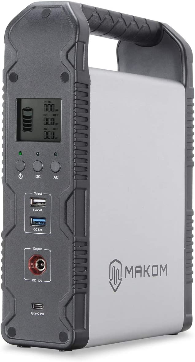 MAKOM 200Wh Portable Generator Power Supply Handheld Wall Outlet Car Lithium Ion 110V AC, 2 USB Port, 12V DC Output